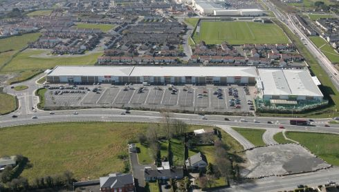 An aerial photograph of the Parkway Retail Park. Photograph: Liam Burke/Press 22