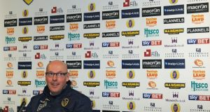 Leeds United manager Brian McDermott speaks to the media during a press conference today: Photograph: Anna Gowthorpe/PA Wire.