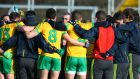 Donegal manager Jim McGuinness chats to the players before the throw-in of their Division Two clash against Laois at  O'Moore Park, Portlaoise, Co Laois. Photograph: Inpho