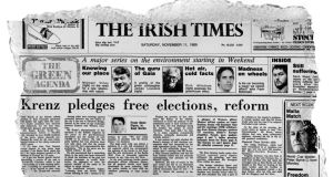 The front page of The Irish Times from November 11th, 1989 when Seán Flynn was reporting from East Berlin