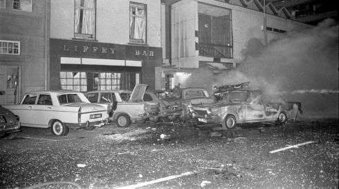 "NEWS: On December 1st 1972, a car bomb planted by Loyalist paramilitaries exploded on Dublin's Eden Quay close to Liberty Hall. Most of the windows of Liberty Hall and other nearby buildings imploded. Although many people suffered injuries – some horrific – nobody was killed. Customers inside the quayside ""Liffey Bar""  were hurt by flying glass."