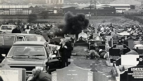 NEWS: On March 16th 1988, Whelan was on hand to witness and photograph the Milltown Cemetery attack. During the funeral of three Provisional IRA members killed in Gibraltar, an Ulster Defence Association (UDA) volunteer, Michael Stone, attacked the mourners with hand grenades and pistols. As Stone ran towards the nearby motorway, a large crowd began chasing him and he continued shooting and throwing grenades. Some of them caught him and began beating him, but he was rescued by the police and arrested. Three people were killed and more than 60 wounded.