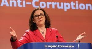 EU Commissioner for Home Affairs Cecilia Malmstrom during a press conference to launch the first Anti-Corruption Report, at the EU Commission headquarters, in Brussels, Belgium, on Monday. Photograph: EPA