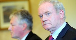 Peter Robinson with Martin McGuinness. But would he have sat down with him of his own volition? Photograph: Arthur Allison