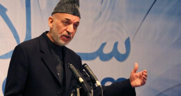 Afghan president Hamid Karzai speaks to journalists during a press conference in Kabul on Tuesday. Karzai continues to refuse to sign a long-term security agreement with Washington. Photograph: S Sabawoon/EPA