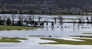 A view across flooded fields as the River Barrow burst its banks overnight. Photograph: Niall Carson/PA