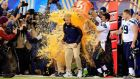 Seattle Seahawks' players dump Gatorade on head coach Pete Carroll with Super Bowl victory against the Denver Broncos in sight at MetLife Stadium  in East Rutherford, New Jersey. The Seattle Seahawks won 43-8. Photograph:  Rob Carr/Getty Images