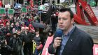 File photograph of Brendan Ogle addressing protestersat at a Unite trade union protest in 2010. Photograph : Matt Kavanagh / THE IRISH TIMES