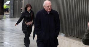 William McAteer, one of the three former Anglo Irish Bank executives, arriving at Dublin Circuit Criminal Court this morning.Photograph: Dara Mac Dónaill/The Irish Times