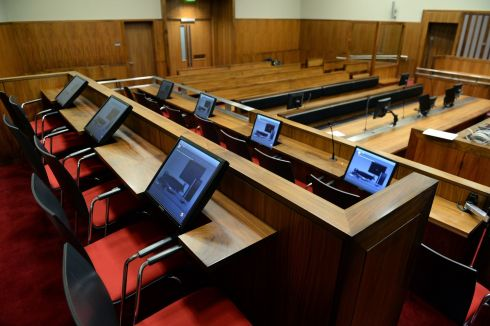 The jury panel area of court 19. Photograph: Cyril Byrne/The Irish Times