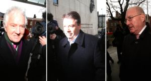 From left: Seán Fitzpatrick, Pat Whelan and William McAteer arriving at court this morning. Photographs: PA