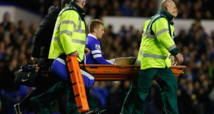 Gerard Deulofeu is stretchered off during the match between Everton and Fulham on December 14th.