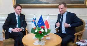Finland's prime minister Jyrki Katainen (left)  and his Polish counterpart  Donald Tusk, both  possible candidates to be next president of the European Commission. Photograph: Mauri Ratilainen/EPA