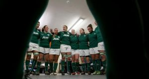 Captain Fiona Coghlan talks to her team before Ireland's opening RBS Women's Six Nations Championship game at Ashbourne RFC last week. Photograph: Dan Sheridan/Inpho