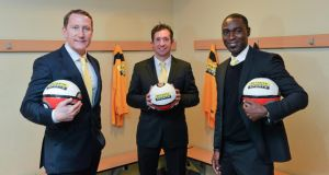 Ray Parlour, Robbie Fowler and Andrew Cole in Dublin yesterday to promote  Setanta Sports' live TV coverage of upcoming Premier League fixtures. Photo: Matt Browne/Sportsfile