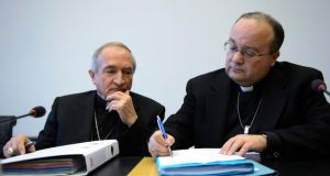 The Vatican's UN Ambassador Monsignor Silvano Tomasi and former Vatican chief prosecutor of clerical sexual abuse Charles Scicluna,  in Geneva last month.  Photograph: Martial Trezzini/EPA