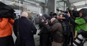 William McAteer, one of the three former Anglo Irish Bank executives, arrives at Dublin Circuit Criminal Court. Photograph: Dara Mac Dónaill/The Irish Times