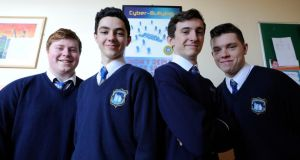 5th and 6th-year students in Drimnagh Castle who are involved in an anti-cyberbullying campaign, Let's Kick it Out. Pictured from left: Eoin Byrne, Emmet Farrell, Thomas Maguire and Shaun McDonnell. Photograph: Dave Meehan