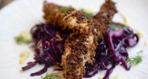 Rye crusted chicken with red cabbage. Photograph: Cyril Byrne