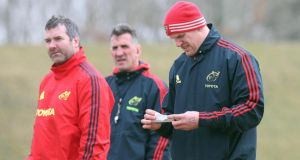 Paul O'Connell (right) with Anthony Foley (left) and Rob Penney. Photograph: Lorraine O'Sullivan/Inpho