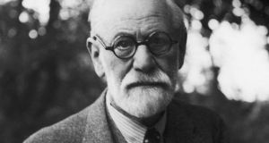'The book includes at least one Irish joke, which Freud  (above) considered very interesting. It's an old joke, from the 19th century. And it must be said that, while few witticisms remain funny after Freud has analysed them, this one was struggling even before it reached the couch.'  Photograph: Casparius/Hulton Archive/Getty Images