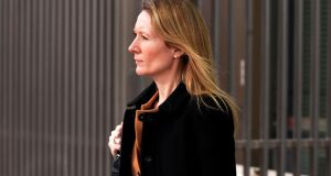 Natasha Mercer, former company secretary of  Anglo Irish Bank, leaving the Circuit Criminal Court yesterday. Photograph: David Sleator