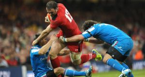 Italy couldn't deal with the hard running of Wales's Jamie Roberts. Gordon D'Arcy will have his hands full on Saturday. Photograph: Joe Giddens/Pa Wire.