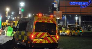 Emergency services at the Odyssey Arena in Belfast last night, where hugely popular Dutch DJ Hardwell was due to perform.  Photograph: Justin Kernoghan/Alan Lewis