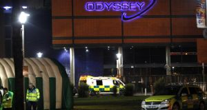 A medical tent and ambulances outside the Odyssey Arena in Belfast. Photograph: Paul Faith/PA Wire