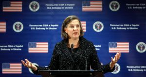 US Assistant Secretary of State Victoria Nuland, whose telephone conversation about the political crisis in Ukraine was leaked on the Internet, suggested the leak would not harm her ties with the Ukrainian opposition. Photograph: Gleb Garanich/Reuters