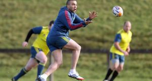 Simon Zebo training with Munster at the  University of Limerick this week. Photograph: Donall Farmer/Inpho