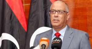 Libya's prime minister Ali Zeidan speaks during a news conference in Tripoli today. Mr Zeidan appealed for Libyans to avoid violence in settling a standoff over their interim parliament. Photograph: Ismail Zitouny/Reuters.