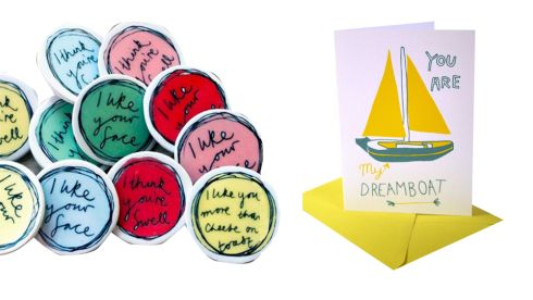 Ceramic badges, €14.54 (inc p&p), alice-shields.co.uk Dreamboat card, €5, Urban Outfitters