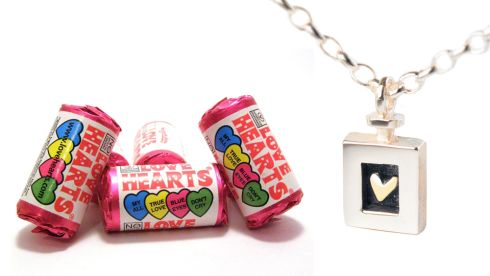 Love heart sweets, €1, all good newsagents Heart of gold pendant and earring set, €209, Enibas, Cork