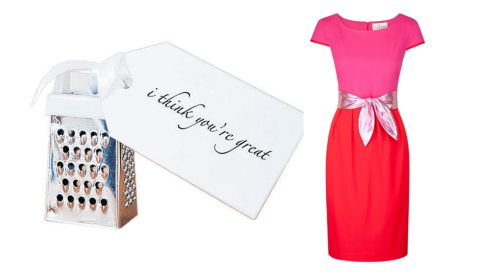 Personalised I think you're great grater, €14.36 (inc p&p), notonthehighstreet.com  Wool crepe 'Paris' dress, €375, Heidi Higgins Boutique, Portlaoise