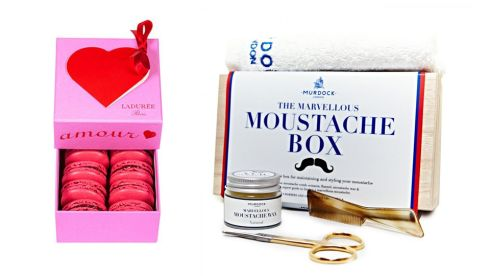 St. Valentine box, €20, Laduree at Brown Thomas The Marvellous Moustache Gift Set €85, Harvey Nichols