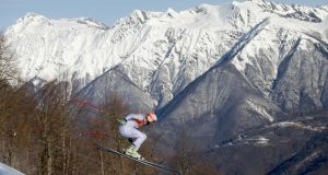 Bode Miller of the USA in training for the Alpine Skiing Men's Downhill in the Sochi Winter Olympics at Rosa Khutor Alpine Centre. Photograph:  Ezra Shaw/Getty Images