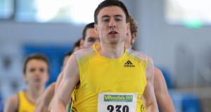 Mark English on his way to setting a new Irish indoor record of 1:46.82s during the Men's 800m at the AAI Open Indoor Games on February 2nd