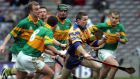 Damien Hayes of Portumna tries to break away from the Newtownshandrum players in the 2006  AIB Club hurling championship final at Croke Park. Photograph: Cyril Byrne/The Irish Times