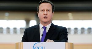 David Cameron delivers his speech on Scottish independence at the Olympic Park in Stratford, east London, yesterday.