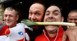 Welsh supporters from Tredegar, south Wales (from left):  Graham George, Dai Williams and Neil Evans in Dublin yesterday. Photograph: Cyril Byrne