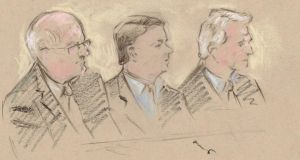 An artist's impression of the defendants in court this week: William McAteer, Pat Whelan and Seán FitzPatrick. Illustration: Alywyn Gillespie