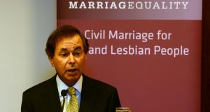 Minister for Justice Alan Shatter speaking at the conference LGBT parenting last month. The Minister said today that new legislation would 'enable couples, not otherwise able to become parents together, to have a pathway to parentage'. Photograph: Cyril Byrne/The Irish Times