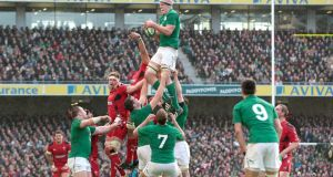 Ireland captain Paul O'Connell claims lineout ball during the Six Nations match against Wales. Photograph: Morgan Treacy/Inpho