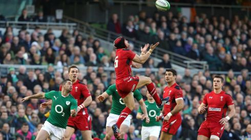 Wales' Leigh Halfpenny wins a high ball. Photograph: Colm O'Neill/Inpho