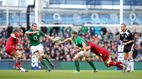 Jamie Heaslip offloads to Devin Toner. Photograph: Colm O'Neill/Inpho