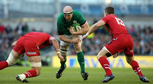 Paul O'Connell charges at Dan Lydiate and Scott Williams of Wales. Photograph: Colm O'Neill/Inpho
