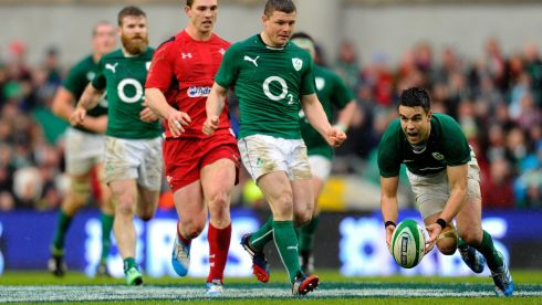 Conor Murray passes the line during RBS Six Nations match between Ireland and Wales at the Aviva Stadium. Photograph: Alan Crowhurst/Getty Images