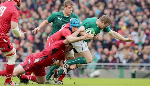 Ireland's Sean Cronin with Justin Tipuric and Ken Owens of Wales. Photograph: Morgan Treacy/Inpho