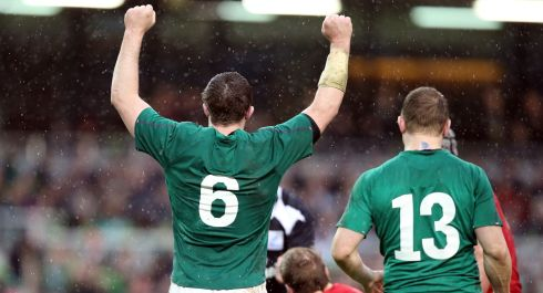 Ireland's Peter O'Mahony celebrates at the final whistle. Photograph: Colm O'Neill/Inpho